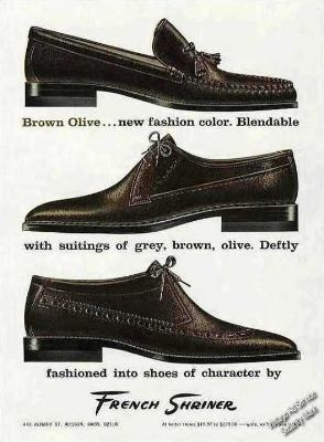 french-shriner-mens-shoes-in-brown-olive-print-ad-1965-8c57414ce0a3fbaa98717efee6f980de_400